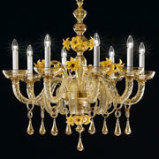 Yellow Murano glass chandelier with flower decorations