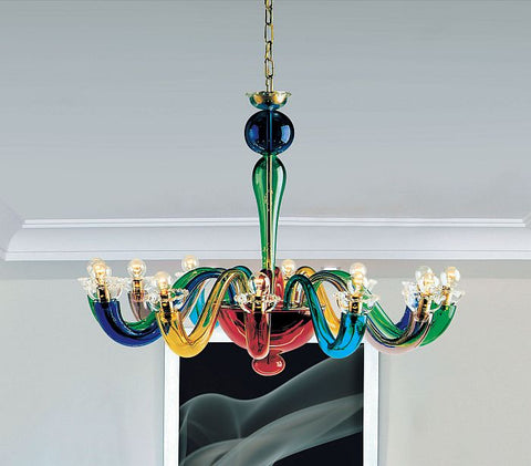 Leucos multi coloured glass chandelier modern colourful ceiling serenissima multi coloured italian glass chandelier from leucos aloadofball Images