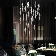 Quirky modern chandelier with glass aeroplanes