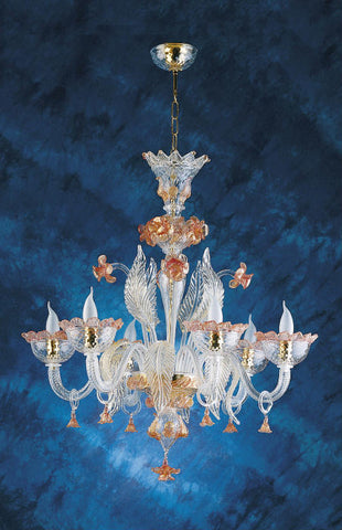 6 light Murano glass chandelier with gold & pink flowers