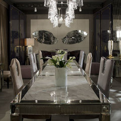 4 metre dining table with Venetian mirror inserts