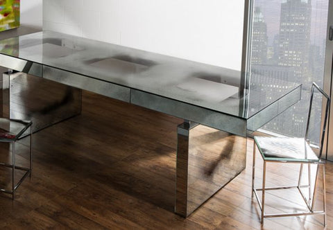 Superb modern Venetian mirrored dining table with steel legs