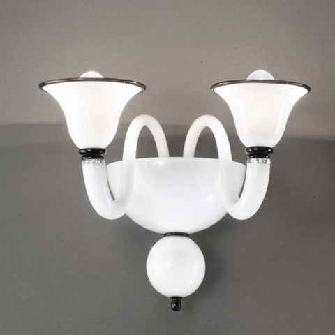 White double wall light with colour options