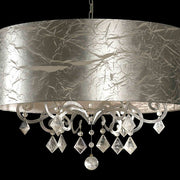 Bohemian crystal and silver leaf pendant light with shade