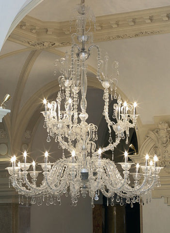 Venetian clear glass 27 light chandelier in the Rezzonico style