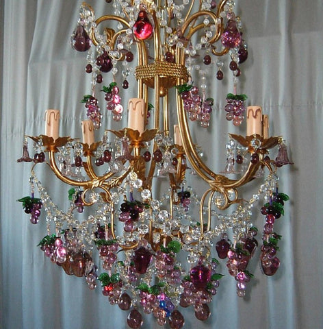 Amethyst Murano glass fruit chandelier with 6 lights