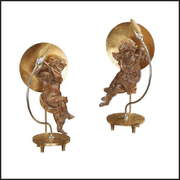 Gold wooden angel table lamp