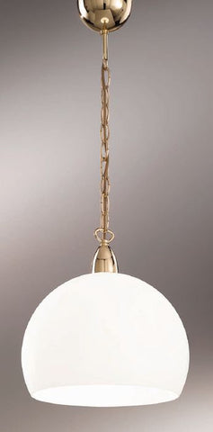 Gold-plated ceiling pendant with white glass shade
