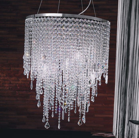 9 light cascading lead crystal & nickel ceiling light