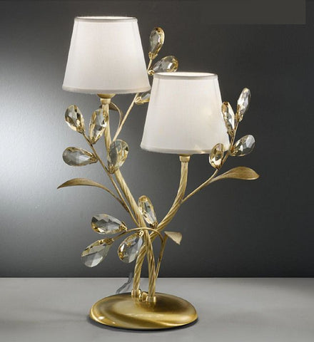 Light amber Scholer crystal table light with cream shades