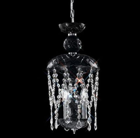Beautiful black glass pendant light with  lead crystal pendants