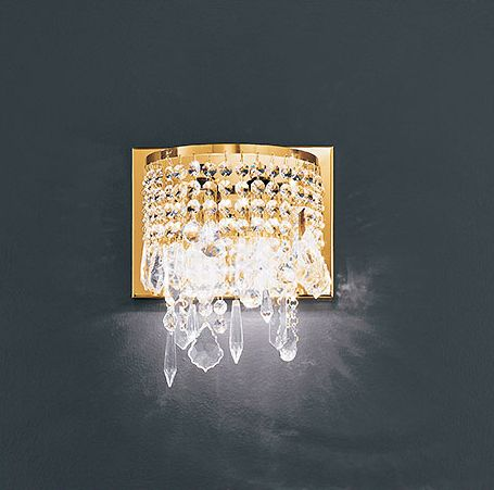 Luxury gold-plated wall light with 24% lead crystal pendants