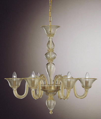 Six light Murano glass chandelier