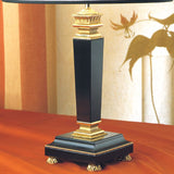 Black Belgian marble table lamp with 24 carat gold details