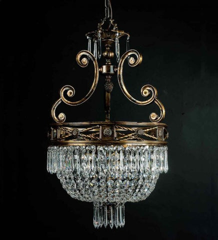 75 cm old gold and crystal Empire style chandelier
