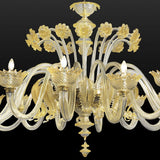 190 cm clear and gold Murano glass chandelier