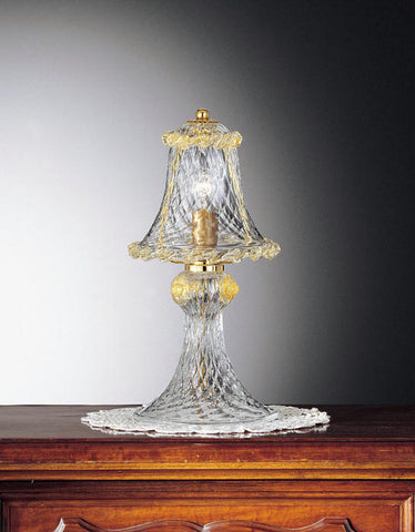 Traditional clear Murano glass table light with gold detail