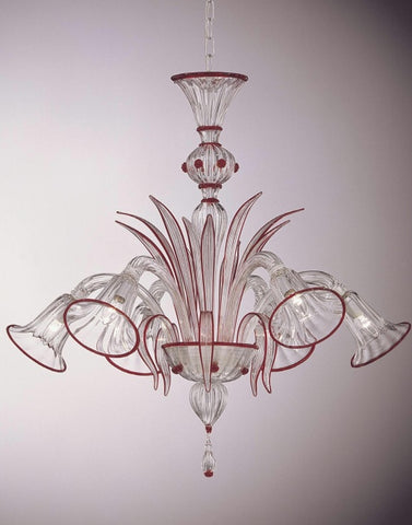 Murano crystal chandelier with red trim