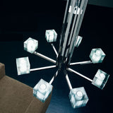 Geometric eight light chrome and Murano glass chandelier