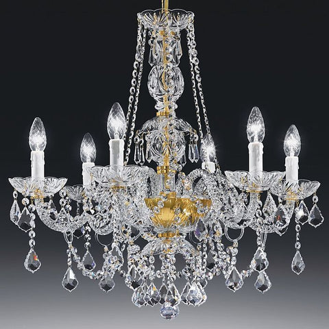 Glass crystal chandelier italy 6 light lead crystal serenade classic 24 lead crystal chandelier from italy with 6 lights aloadofball Image collections