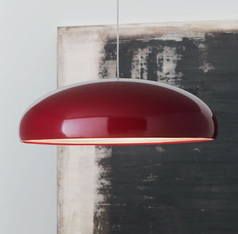 Shiny red modern metal pendant light with acrylic diffuser