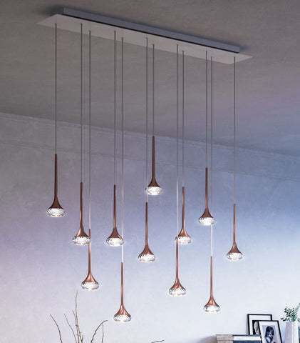 Fairy linear 12 light canopy light with cut glass diffusers