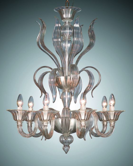 Six arm crystal and amber glass chandelier