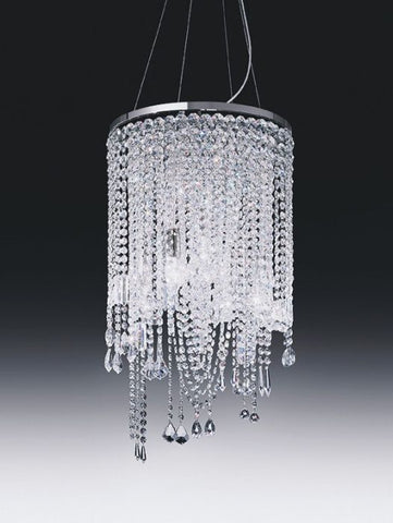 5 light cascading lead crystal & nickel chandelier from Italy