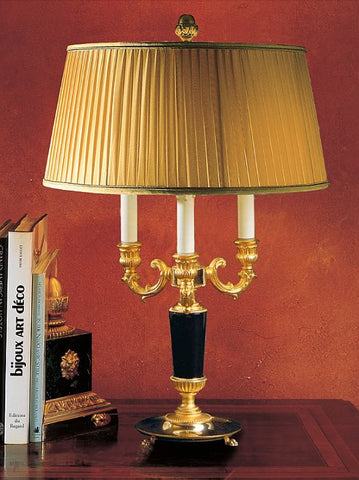 Classic black marble table lamp with 24 carat gold plating