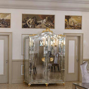 Classic Venetian mirrored glass cabinet with gold leaf finish