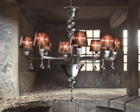 Italian 8 light chandelier with choice of shade colours