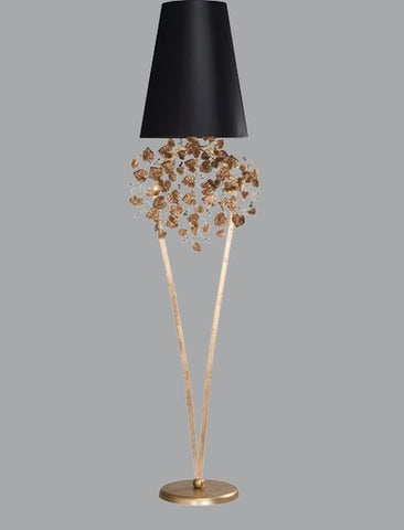 Gold leaves and Swarovski Elements crystals floor lamp