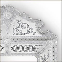 Decorative large Venetian mirror with silver eglomise design