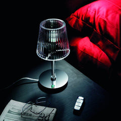 Minimal clear or white Murano glass table lamp