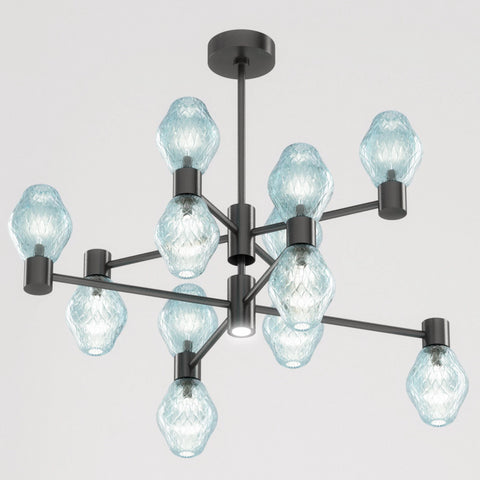 Mid-Century Black Murano Class Chandelier by Beby