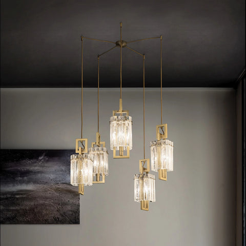 Modern Gold Ceiling Pendants with Glass Panels inspired by Rock Crystal
