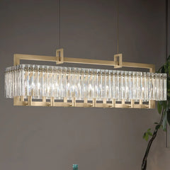 Modern Gold Chandelier with Glass Panels inspired by Rock Crystal