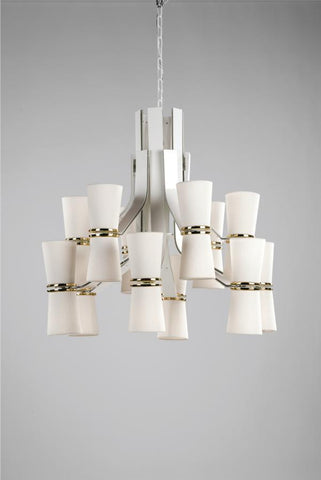 Modern white chandelier from Italy with gold, black, or brass metal details & 24 lights