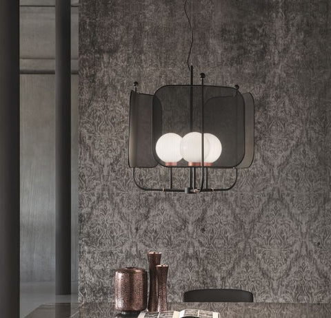 Metal Mesh Panelled 3 Armed Chandelier