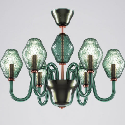 6 Arm Murano Glass Chandelier in Green by Beby