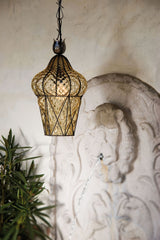 Clear or amberMurano glass ceiling lantern with balloton finish
