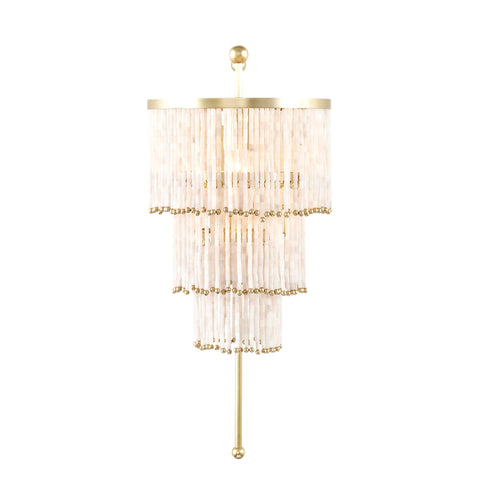 Art Deco Wall Light with Blush Pink Quartz Straws