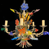 Traditional Metal Murano Glass Flower Chandelier