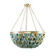 60's Style Natural Jade Stone 'Twiggy' Basket Chandelier