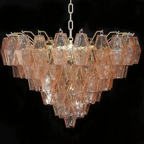 Pink Polyhedral Chandelier with Gold Frame