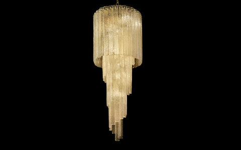Mid Century-style floated glass hanging chandelier with 'Graniglia' Granulated glass finish
