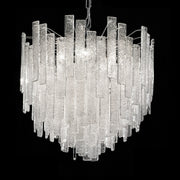 Mid Century-style floated glass hanging pendant chandelier with 'Graniglia' granulated glass finish