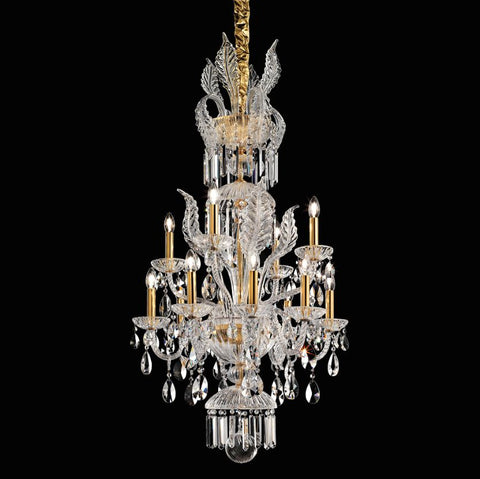 Medium Blown Glass and Crystal Chandelier with Gold Frame