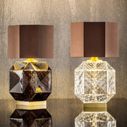 Geometric Hand Blown Murano Glass Table Lamp with Shade