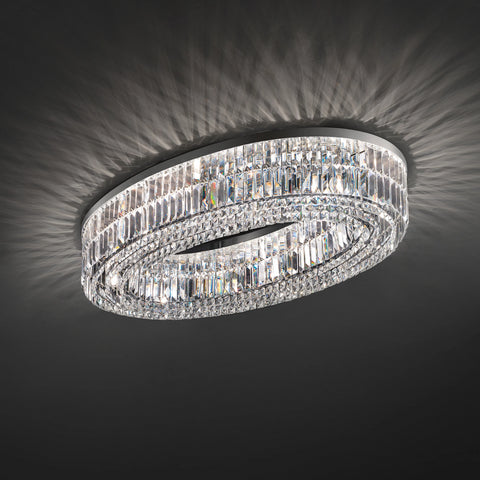 Modern Oval Crystal Ceiling Light